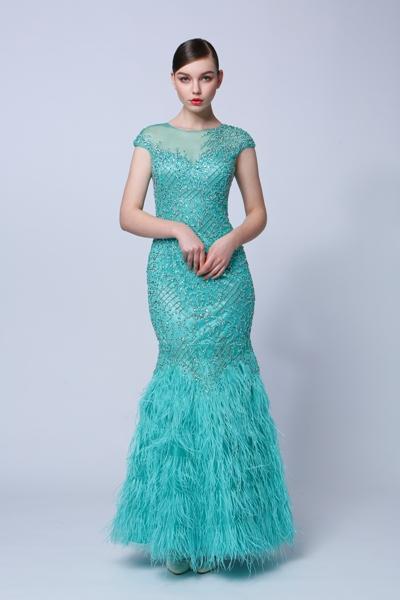 tyrkysové luxusné šaty