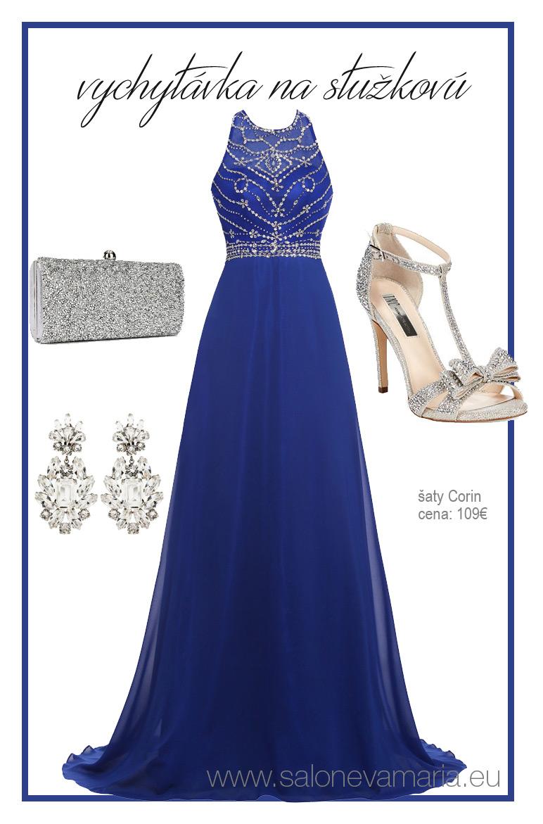 modré hravé šifónové šaty na stuťkovú