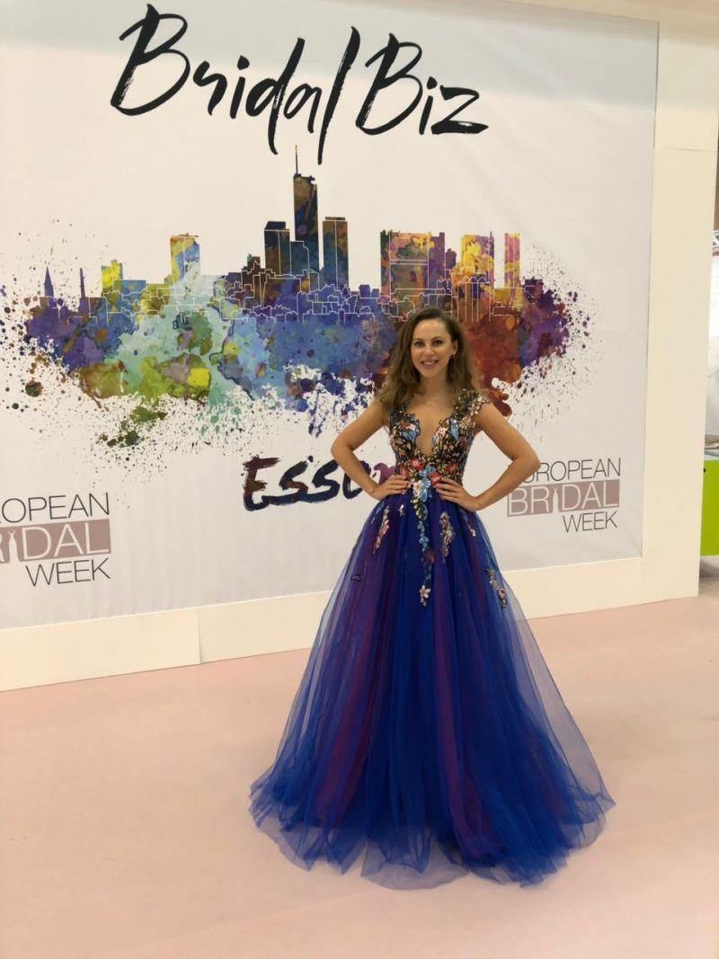 Večerné luxusné modré šaty Adelise - Dominique le Co