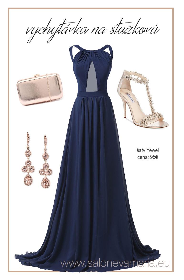 Tmavomodré šaty na stužkovú jewel - s holým chrbtom