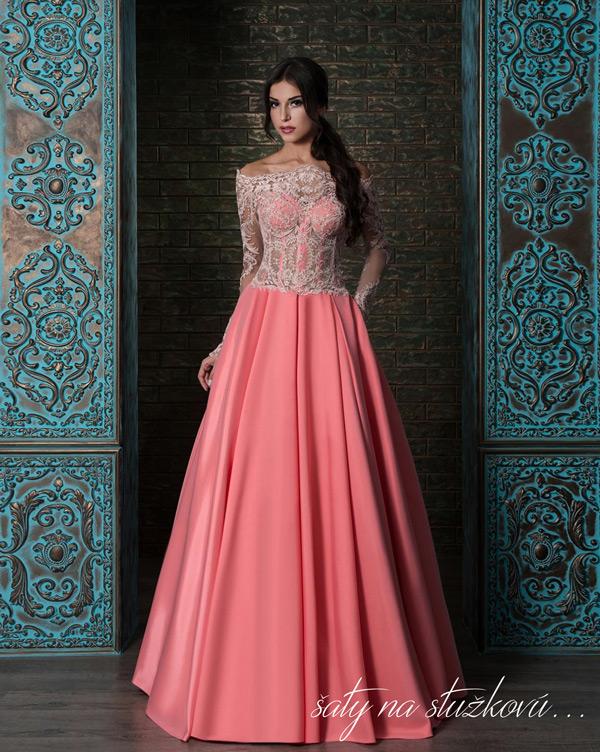 šaty na stužkovú s veľkou saténovou sukňou s vreckami