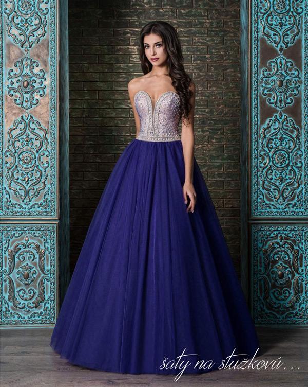 šaty na stužkovú s kamienkami s veľkou tylovou sukňou