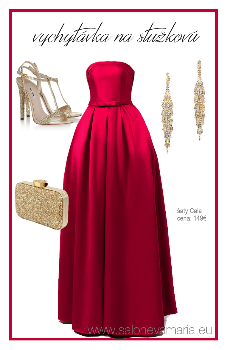 červené šaty na stužkovú z mikáda