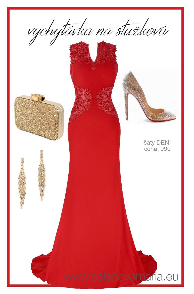 Červené priliehavé šaty na stužkovú.