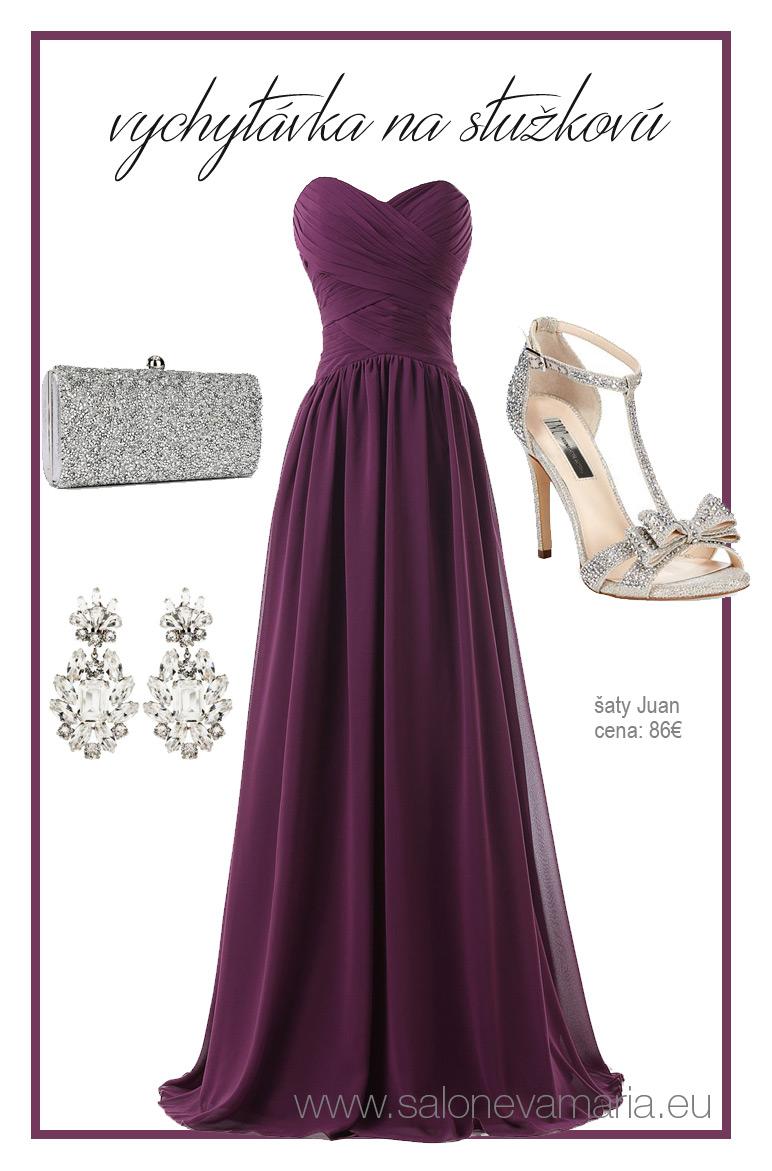 vínové šifónové šaty na stužkovú zo šifónu