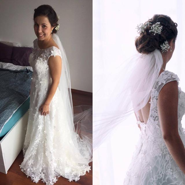 Spokojná nevesta vo svadobných šatách Stephanie od Hadassa