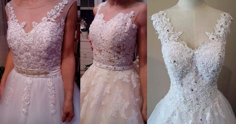 Svadobné šaty s nekvalitnou čipkou.