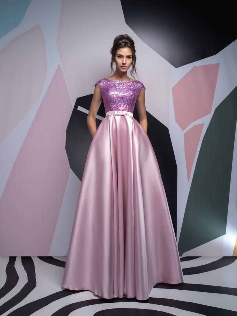 Ružové šaty na stužkovú so sukňou z mikáda