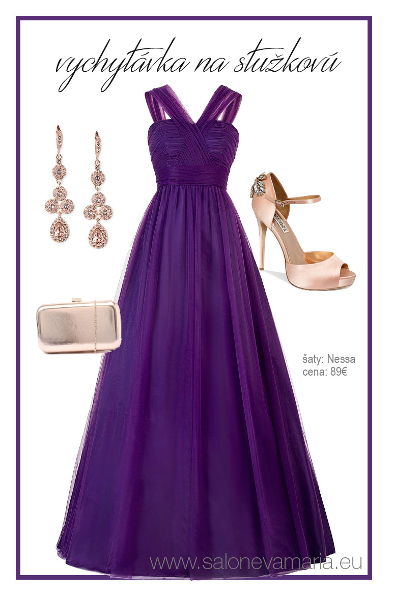 Fialové šaty na stužkovú z tylu.