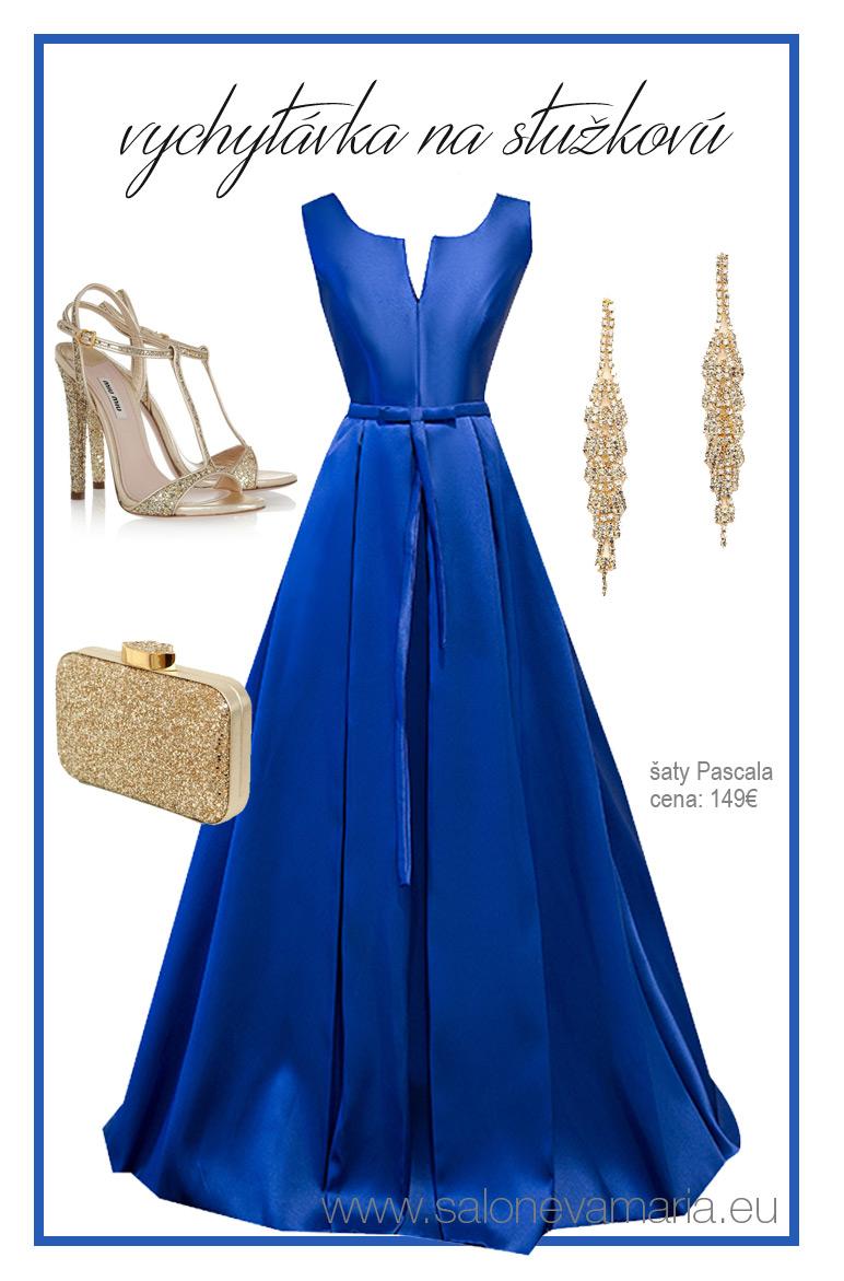 kráľovsky modré šaty na stužkovú z mikáda