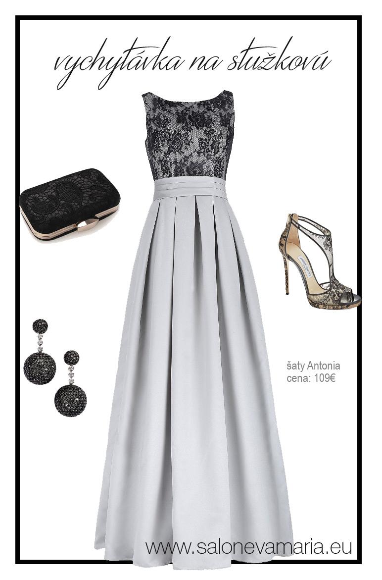 sivé šaty na stužkovú zo saténu