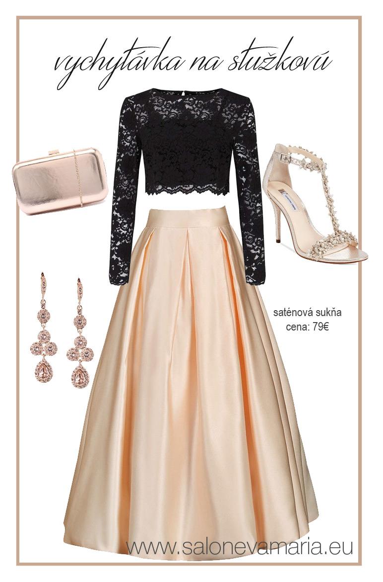 krémová saténová sukňa na stužkovú