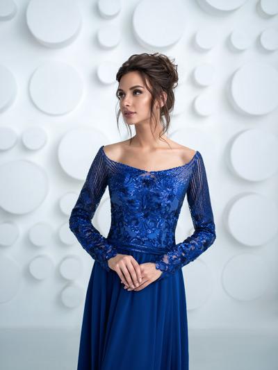 luxusné šaty pre svadobnú mamu modré