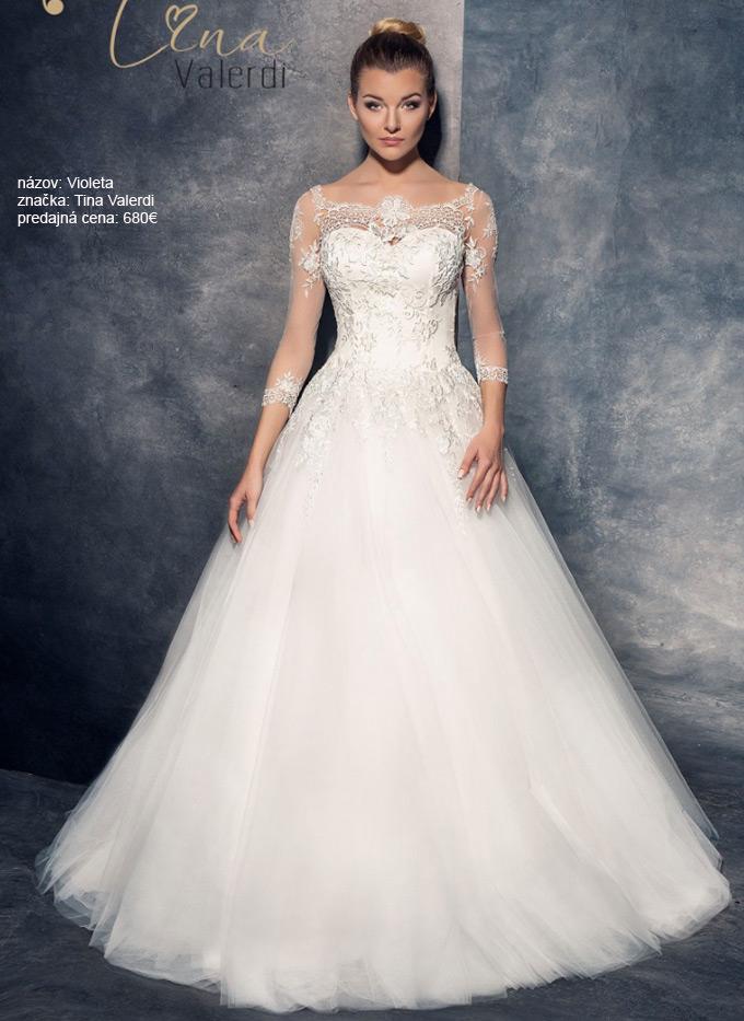 Najkrajšie princeznovské svadobné šaty s rukávmi