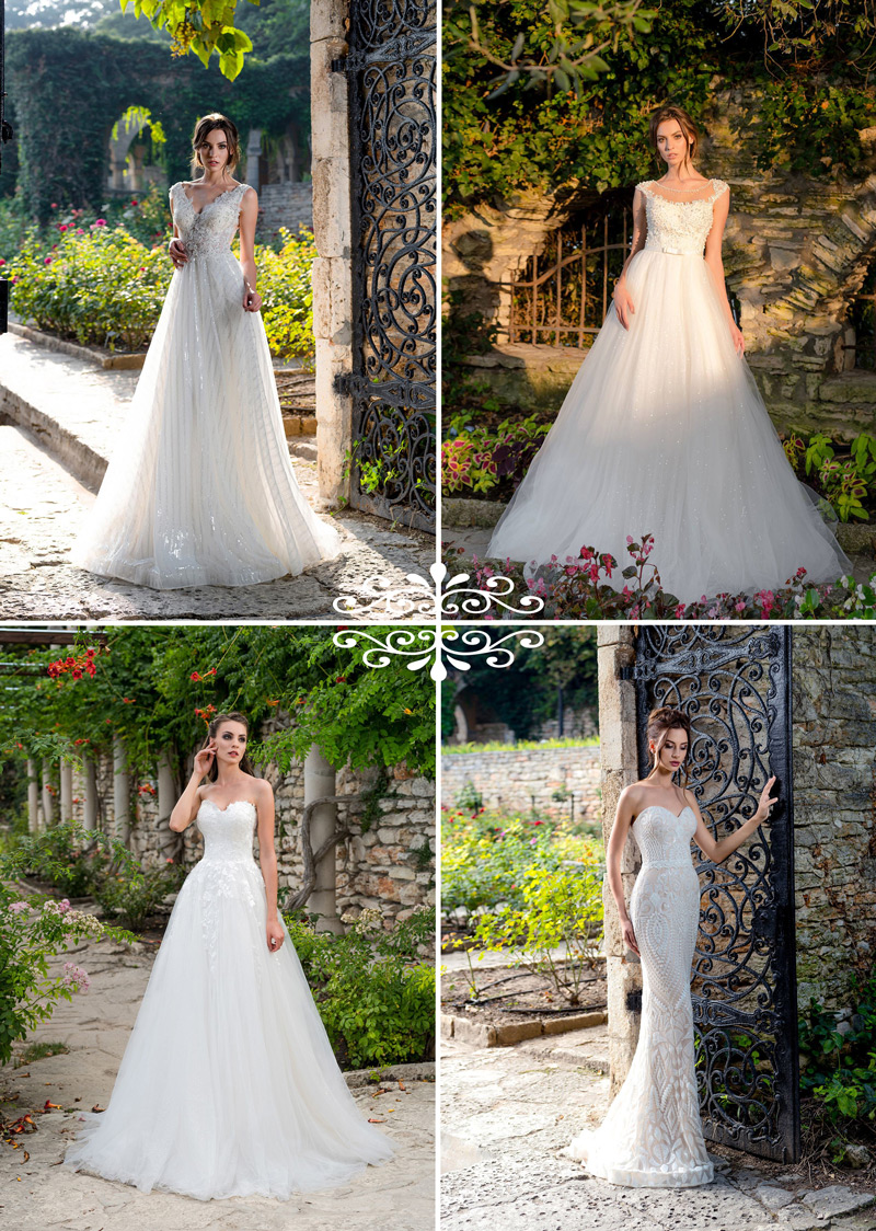 Trblietavá sukňa na svadobných šatách - trend 2018