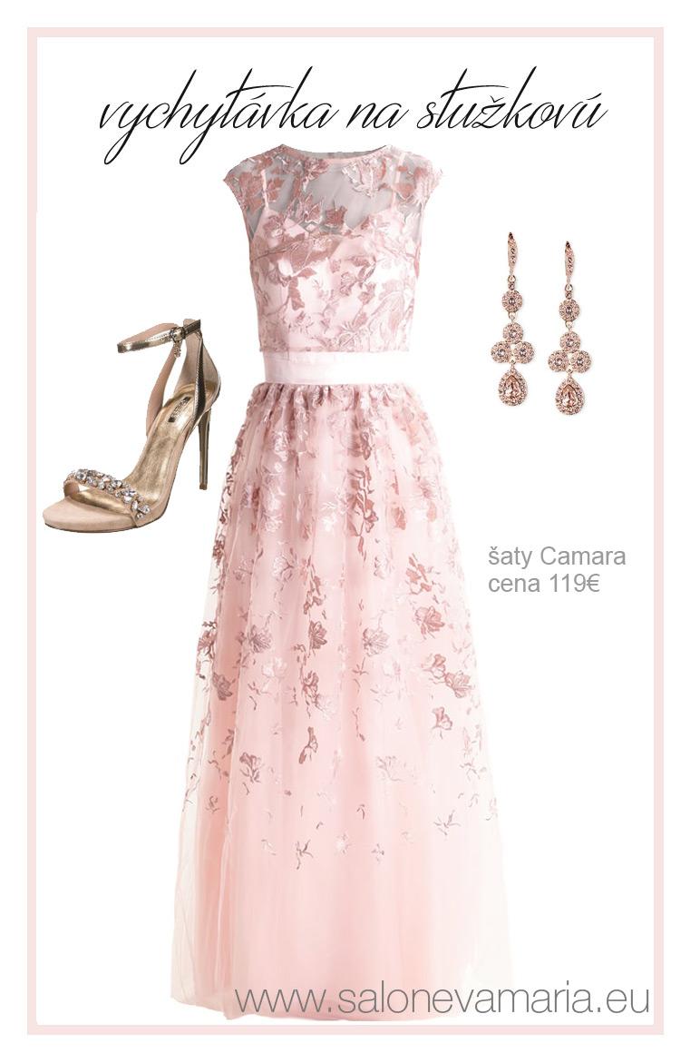 lacné šaty na stužkovú - Ružové trendy dvojdielne ľahučké šaty