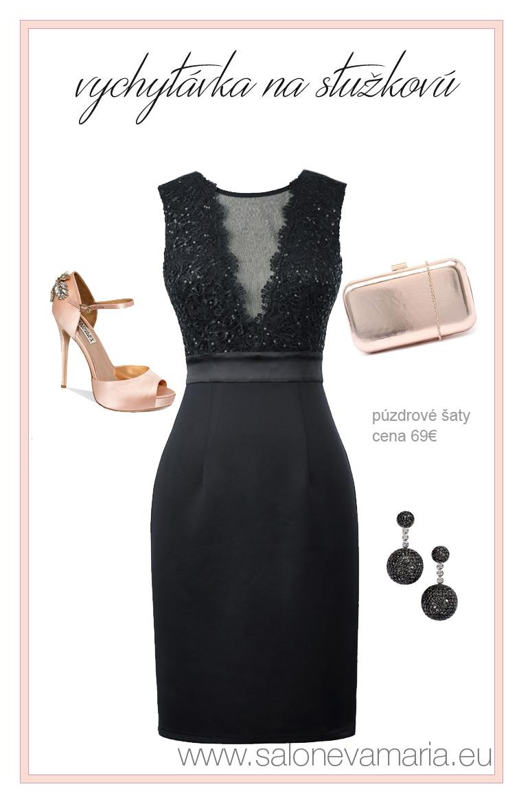 šaty na stužkovú - Elegantné krátke púzdrové šaty