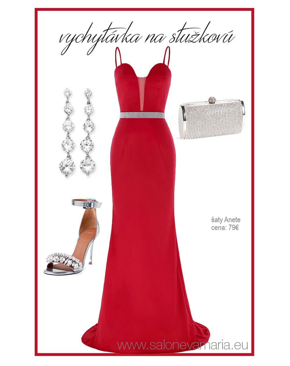 červené priliehavé šaty s odnímateľnými ramienkami