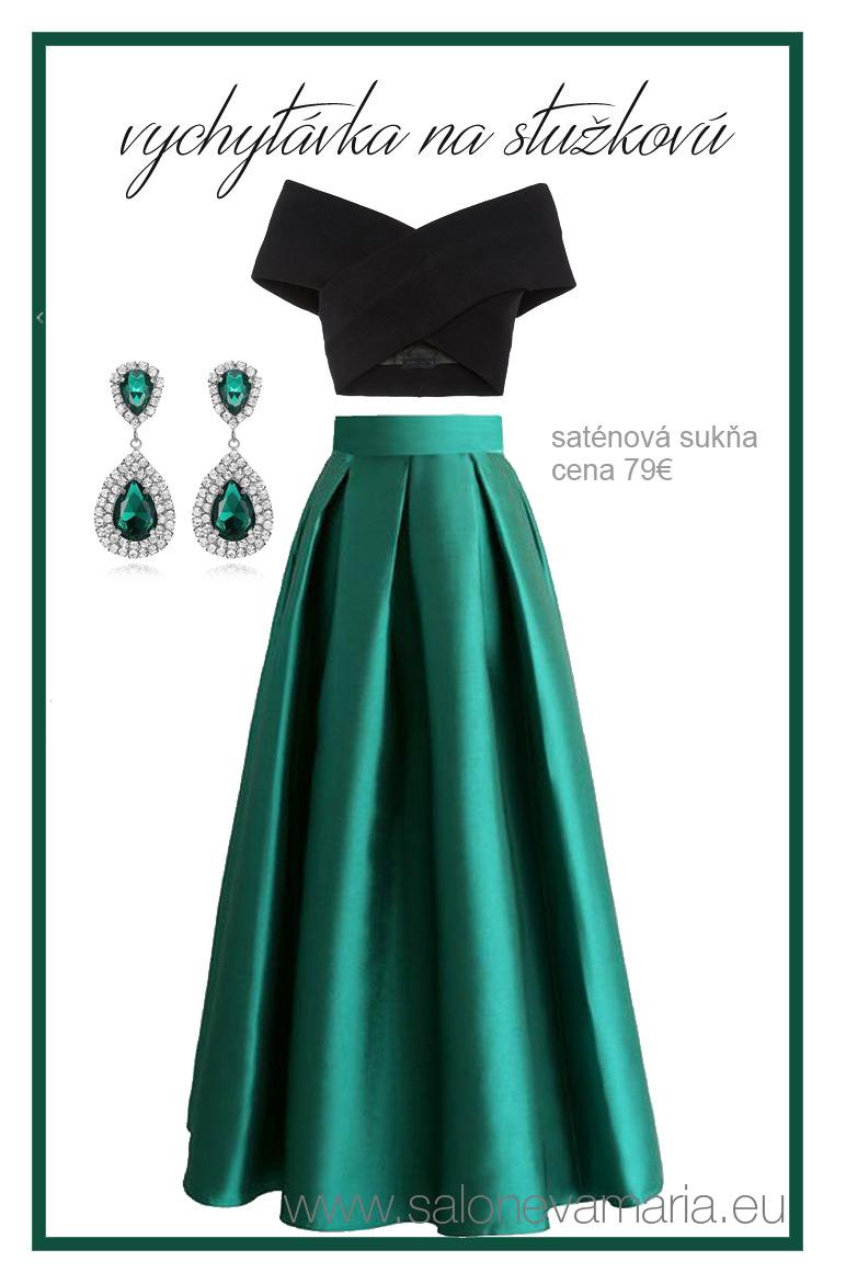 Smaragdová saténová sukňa z kvalitného materiálu na stužkovú