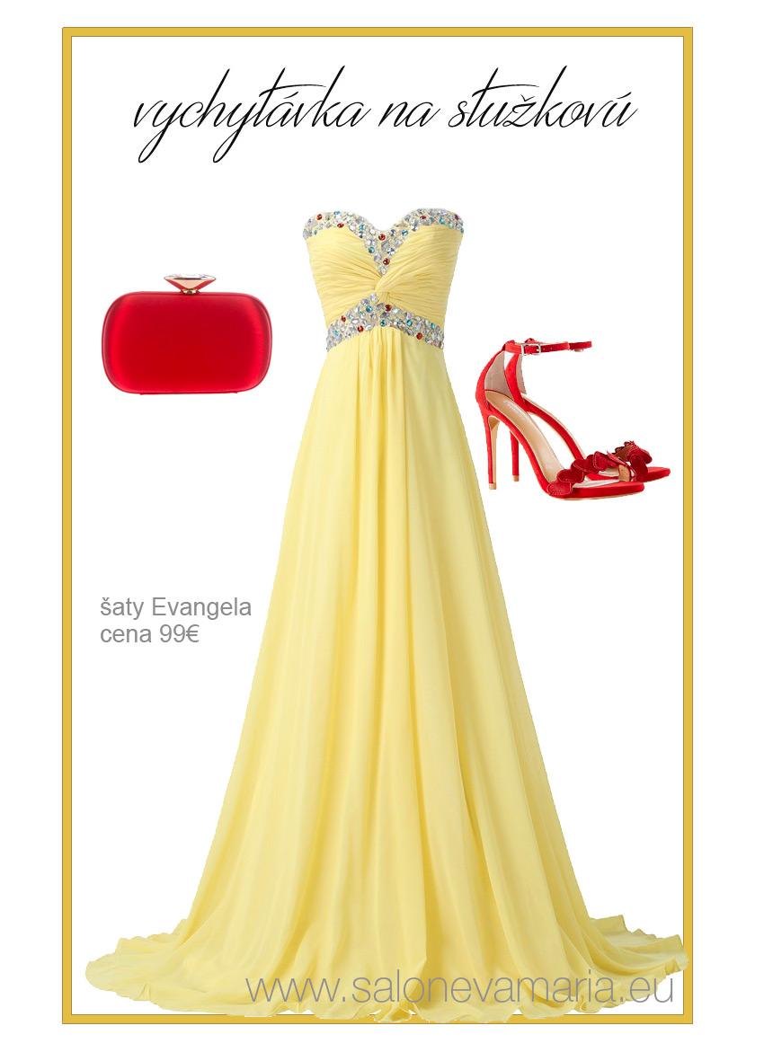 Žlté padavé šaty z príjemného šifónu na stužkovú