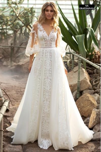Prekrásne boho svadobné šaty s balónkovým rukávom.