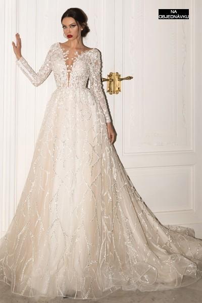Luxusné svadobné šaty s dlhými rukávmi