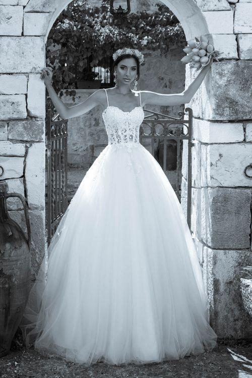 Svadobné šaty s veľkou sukňou s vlečkou, priesvitný vrch s ramienkami 2019