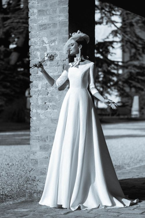 Svadobné šaty s 3/4 rukávmi s Ačkovou sukňou - princezná Megan
