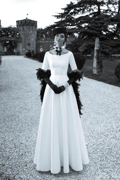 Elegantné svadobné šaty s rukávmi