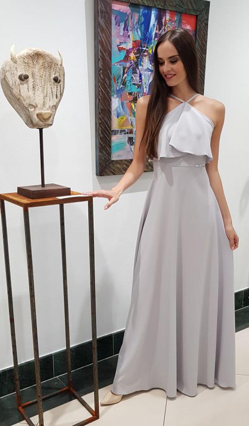 sivé antické luxusné plesové šaty
