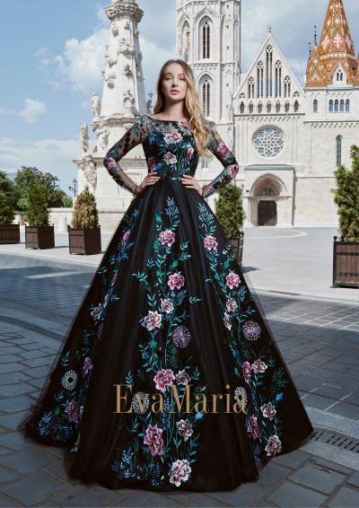 Honosné pompézne luxusnéčierne šaty na reprezentačný ples s vyšívanými kvetmi s dlhými rukávmi