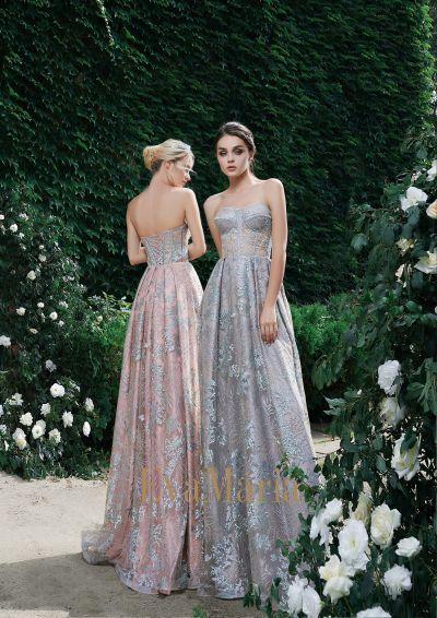 Sivé a púdrové padavé korzetové plesové šaty z nádherného luxusné materiálu