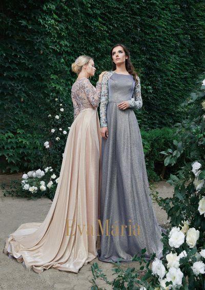 Sivé, béžové luxusné bohoštýl šaty na ples s dlhými rukávmi zo zamatu