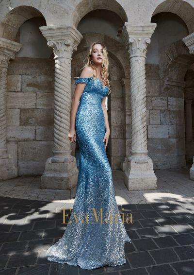 Nebeskymodré ligotavé flitrované luxusné šaty na ples