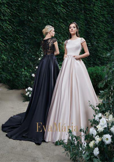 luxusné saténové spoločenské šaty na ples s veľkou sukňou s vlečkou