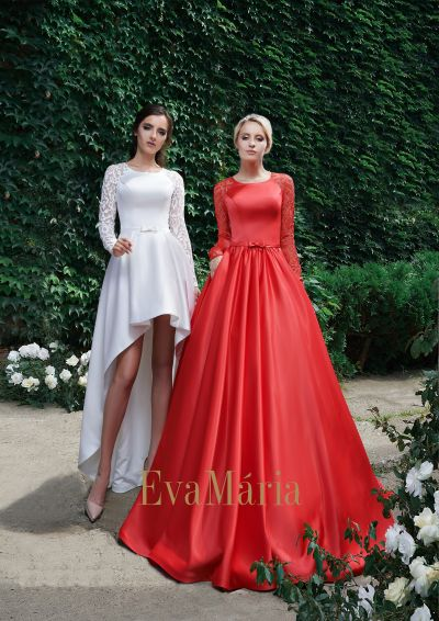Červené šaty na ples zo saténu s veľkou sukňou s vlečkou