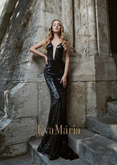 čierne sexi priliehavé obtiahnuté flitrované plesové šaty