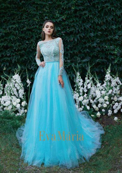 Nebesky modré plesové šaty pre princezné s dlhými rukávmi