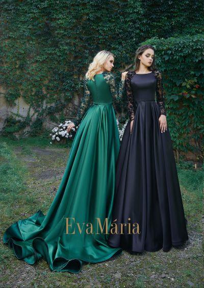 Zelené a čierne saténové šaty na reprezentačný ples s dlhými rukávmi