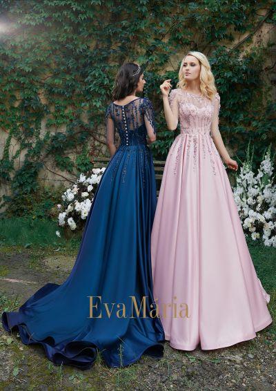 Nádherné šaty na ples modré a ružové s veľkou saténovou sukňou s vlečkou
