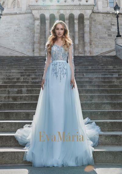 Prekrásne luxusné nebesky modré plesové šaty s oodnímateľnou vlečkou s dlhými rukávmi
