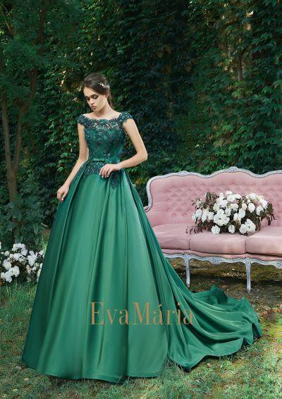 Honosné luxusné nádherné spoločenské šaty s vlečkou