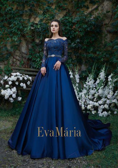 Kráľovsky modré plesové šaty s dlhými rukávmi a veľkou saténovou sukňou