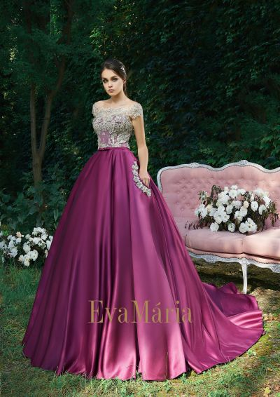 Luxusné plesové šaty s veľkou bordovou sukňou zo saténu - princeznovské