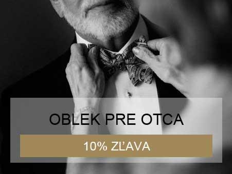 10% zľava na oblek pre svadobného otca pri kúpe svadobných šiat