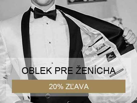 20% zľava na svadobný oblek pri kúpe svadobných šiat