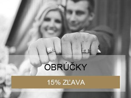 15% zľava na obrúčky pri kúpe svadobných šiat, svadobného obleku a snubného prsteňa