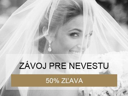 50% zľava na svadobný závoj pri kúpe svadobných šiat